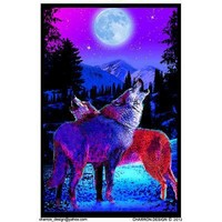 Timberwolves Flocked Blacklight Poster 23 x 35in