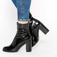 Lost Ink Black Round Toe Heeled Ankle Boots