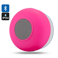 Bluetooth Shower Speaker 'AquaSound' - IPx4 Water Resistant, Suction Cup, Built In Microphone, Call Answering (Red)