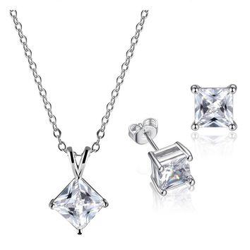 Princess Pair IOBI Crystals Matching Necklace and Earrings Set