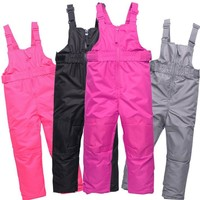 Winter Girls Ski Pants Windproof Overall Pants Tracksuits for Children Waterproof Warm Kids Boys Snow Ski Trousers Snowboarding