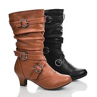 JasIIS By Happy Soda, Children Girls Buckle Strappy Slouch Round Toe Low Heel Mid Calf Boots