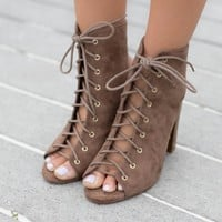 MODEL SZ 6 Forever More Taupe Lace Up Booties