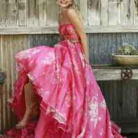 Sherri Hill Strapless Printed Prom Gown 32127