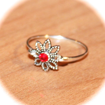 Red Crystal Thin Ring Handmade, Knuckle Ring, Gold Stacking Wire Ring, Gold Thin Ring, Minimalist Ring