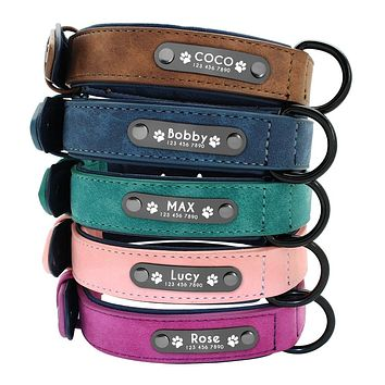 Dog Breeds Custom Made Leather Collars | Free Engraving Personalized Dog  Name ID Tags Collar
