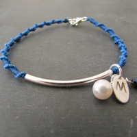 Monogram Thin Tube Bracelet, Sterling Silver Personalized Women Jewelry, Blue Charm Friendship Wristlet