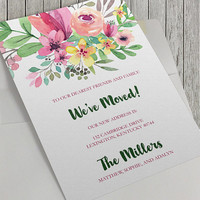 Printable We've Moved Announcement, 5x7 Inch, Personalize, New Home, New Address, Watercolor Flowers, Digital Download, Floral Bouquet