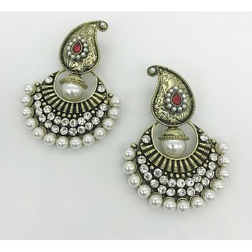 Handmade Pearl Chandelier Kashmiri Earrings