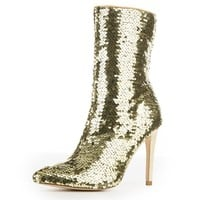"Gold Sequin Pointy Toe Ankle Boot Full Side Zipper 4"" High Heels"