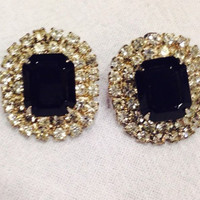 Vintage black and white rhinestone earrings silver setting post back costume jewelry party wedding prom
