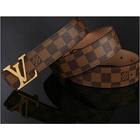 LOUIS VUITTON CLASSIC MEN&WOMEN REAL LEATHER BELTS E