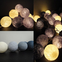 20 Mixed Gray Clound Tone Handmade Cotton Balls Fairy String Lights Party Patio Wedding Floor Table or Hanging Gift Home Decoration