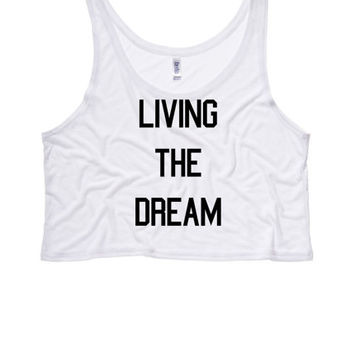 LIVING the DREAM Ladies Boxy Crop Top   Womens Flowy Crop and Tank Tops   Living the American Dream   Tumblr   LGBT Tops   Trans Shirts