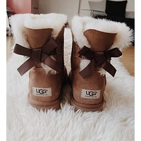 Ugg Women Fashion Bow Leather Wool Snow Boots