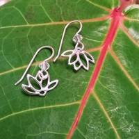 Mirrored Lotus Earrings - sterling silver and Swarovski crystal jewelry, delicate, simple