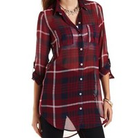 Plaid Chiffon Tunic Top by Charlotte Russe - Red Combo