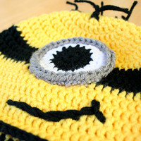 Yellow Minion Hat, Toddler Minion hat, costume hat, yellow black and white, toddler costume, 12 Month to 4T sizes available