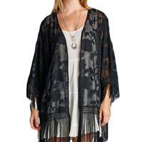 Bohemian Cowgirl Burnout Lace Relax Kimono with Fringe Cover up Top