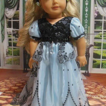 """Historical American girl doll clothes """"Regency Blue"""" (18 inch)Early 1800s Caroline Dollhouse Design Pattern blue black lace"""