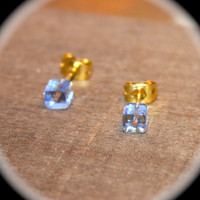 Tiny Blue Square Stud Earrings - Ice Cube Cartilage Earrings, Helix Studs, Tragus Studs, Large studs, Body Piercings
