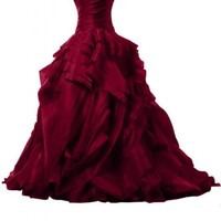 Y&C Women's Sweetheart Ball Gown Sweet 16 Dresses 0 US Red
