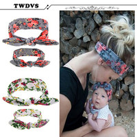 TWDVS Girls Toddler Infant Newborn Flowers Print Floral Butterfly Bow Hairband Turban Knot Baby Headband Hair Accessories kt043