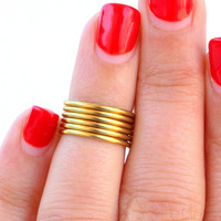 Gold  Rings- Knuckle Rings - Midi Rings - Above the Knuckle Rings -  Simple Gold  Wrap Ring- Set of 2 by Tiny Box