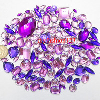 100 pcs lot --- Sew-On Gems / Beads --- Lavender Purple Mixed Shapes Flat Back Gems -- ( Mixed size 6mm - 40mm has thread holes )