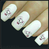 Nail Decal Easter Nail Art 20 Bunny Design Water Slide Decals Fingernail Decals