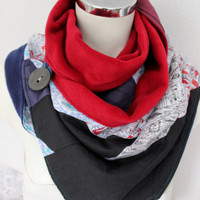 Red navy blue scarf, Cowl scarf, Red Hot collar, Neck scarves, Buttons scarves, Infinity scarves, Patchwork scarf, Unique scarf, Navy scarf