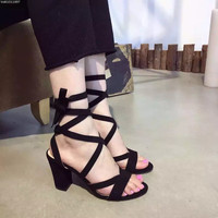 2016 New Fashion Design Ladies Sandals Cross Strap Sandals Thick High Heel Open Toe Women's Summer Shoes Black Green Red