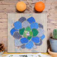 Succulent wall art decor, colorful and modern plant string art decor, green and blue wall decor for minimalist, Scandinavian designs