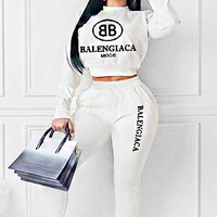 Balenciaga New fashion letter print long sleeve top sweater and pants two piece suit