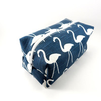 Navy and White Flamingo Makeup Bag, Gadget Case, Under 15, Pencil Case, Medium, Zippered, Cosmetic Case, For Her