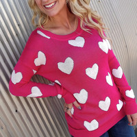 Hearts All Over Sweater - PINK | The Rage