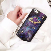glitter Star Universe case for iPhone 7 7plus female soft case for iphone 6 6S Plus 6Plus capa fundas carcaza space