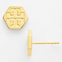 Women's Tory Burch Logo Hexagon Stud Earrings