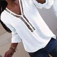 Women Sexy V-neck Sequins Chiffon Blouse Shirt Spring Summer Elegant Office Lady Blouses Tops
