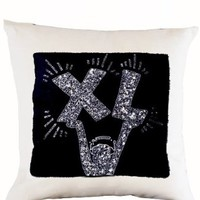 """Amore Beaute Square Decorative Throw Pillow Cover with Modern Art Deco Design - Handcrafted Embroidered Pop Art Designer Pillowcase - Sofa Pillow Cover in White Linen (14"""" x 14"""")"""
