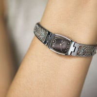 Filigree bracelet lady's wristwatch Ray silver shade black ornamented face women's watch cocktail watch gift her