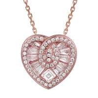 Baguette Stones Heart 14k Rose Gold Finish Pendant  Gift Set