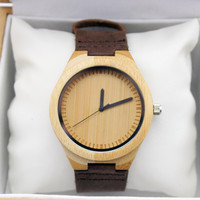 Mens Bamboo Wood Leather Band Watch
