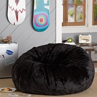 Black Luxe Fur Small + Large Beanbags
