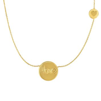 14k Yellow Gold Love Engraved Round Pendant Chain Necklace, 18""