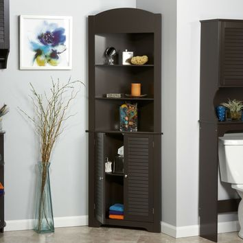 Espresso Bathroom Linen Corner Cabinet with 3 Open Shelves