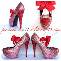 Red Heart Glitter High Heels, Pink Valentine Platform Pumps