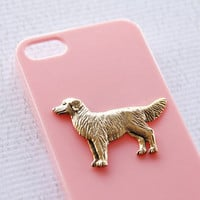 Golden Retriever iPhone 5 and 5s Gold Plated Light Pink Protective Hard Cover iPhone 6 Case