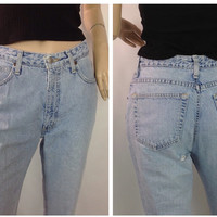 90s Boyfriend Jeans Distressed Jeans Frayed Jeans High Waisted Jeans Mom Jeans Light Wash Jeans Light Rinse Jeans Banana Republic 8 Long