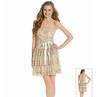 As U Wish® Juniors' Printed Lace Tiered Dress at www.herbergers.com